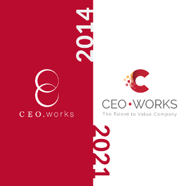 The CEO.works logo before and after the redesign